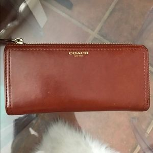 Cognac leather coach wallet